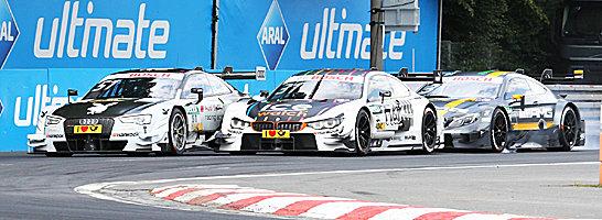 Premierensieg: Audi-Pilot Nico M�ller (links vor Blomqvist und di Resta) triumphierte am Sonntag auf dem Norisring.