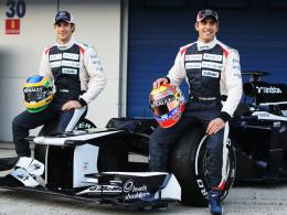 Der neue Williams FW34: Das Fahrerduo Bruno Senna und Pastor Maldonado bei der Präsentation in Jerez.