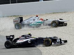 Michael Schumacher im Mercedes (oben) und Bruno Senna