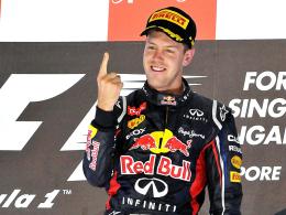 Hysterischer Finger? Nicht jeder freute sich über Sebastian Vettels Triumph in Singapur.