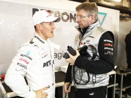 Ehedem ein einmaliges Erfolgsduo: Teamchef Ross Brawn und Rekordweltmeister Michael Schumacher.