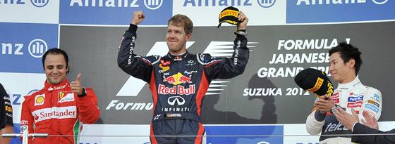 Massa, Vettel und Kobayashi (v. li.)
