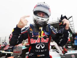 Nass, aber überglücklich: Sebastian Vettel feiert in Brasilien seinen dritten WM-Titel in Folge.