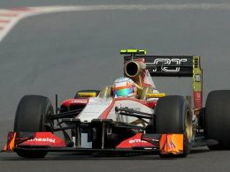 Aus in der Formel 1? Der HRT-Rennstall, hier mit Narain Karthikeyan, fehlt auf der Nennliste 2013.