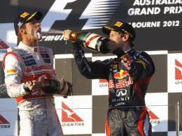 Traditioneller Saisonauftakt: Weltmeister Sebastian Vettel und McLaren-Pilot Jenson Button in Melbourne.