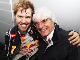 Gut gelaunt: Der dreimalige Formel-1-Weltmeister Sebastian Vettel und Formel-1-Boss Bernie Ecclestone.