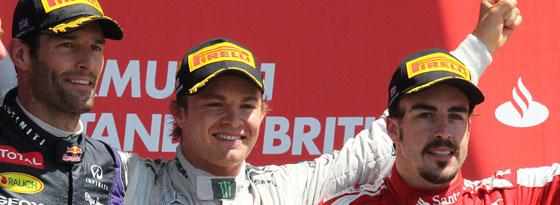 Webber, Rosberg und Alonso (v. r.)