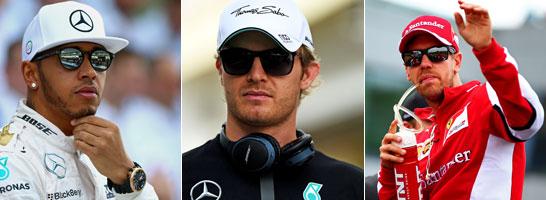 Lewis Hamilton, Nico Rosberg, Sebastian Vettel: Die drei Topfavoriten auf den WM-Titel 2016.