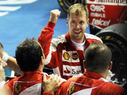 Große Freude nach perfekter Vorstellung: Ferrari-Pilot Sebastian Vettel.