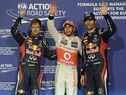 Sebastian Vettel, Lewis Hamilton und Mark Webber