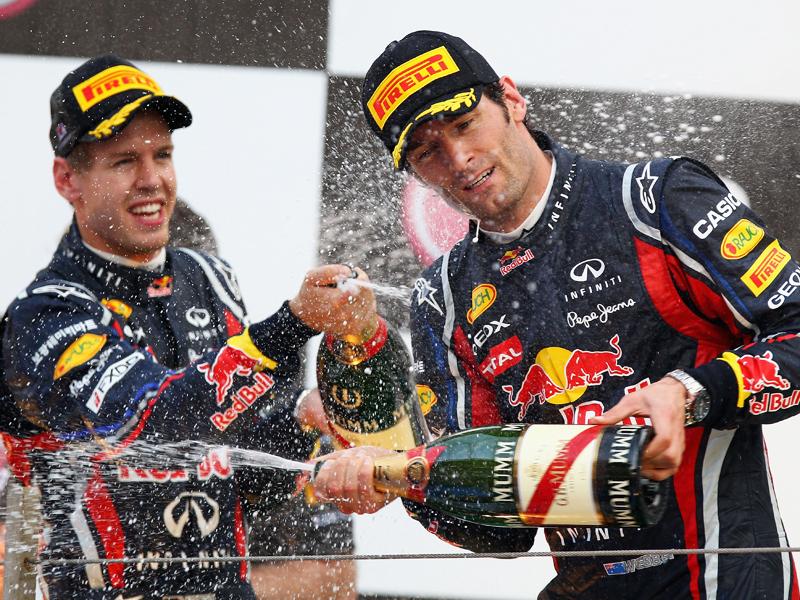 Allen Grund zum Jubeln hatten Vettel und Webber auf dem Podest in Yeongam: Red Bull sicherte sich die Konstrukteurs-WM.