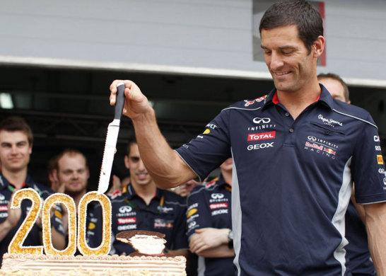 Mark Webber feierte in Bahrain 2013 seinen 200. Grand Prix. Damit ist er 12. in der ewigen Bestenliste, die von Rubens Barrichello angef�hrt wird (322).