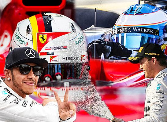 Stars der Formel-1-Szene und Topverdiener: Lewis Hamilton, Sebastian Vettel, Fernando Alonso und Nico Rosberg.