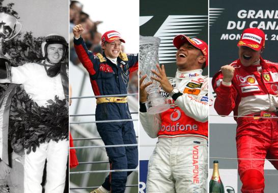 Jackie Stewart, Sebastian Vettel, Lewis Hamilton, Michael Schumacher (v.l.n.r.)