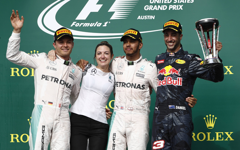 Nico Rosberg, Lewis Hamilton und Daniel Ricciardo