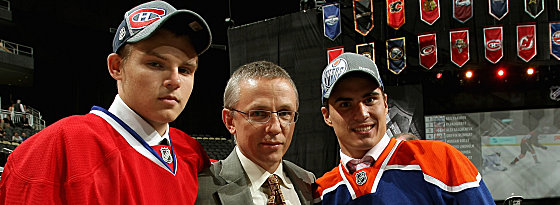 Alex Galchenyuk, Igor Larionov, Nail Yakupov (v.li.)