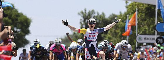 Siegerpose: André Greipel zog am Freitag wieder einen unwiderstehlichen Sprint an.