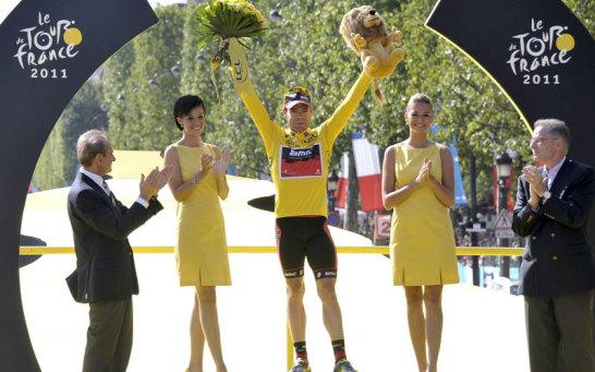 Cadel Evans bei der Siegerehrung