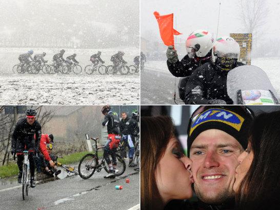 Schneefall sorgte in Ligurien für ein Chaos - vor allem beim Radrennen Mailand - San Remo.