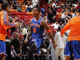 Erster im Osten! Die New York Knicks um J.R. Smith feiern ihren Sieg in Miami.