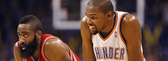 Harden (li.) und Durant