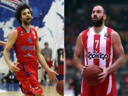 Wiederholt sich der Thriller aus dem Vorjahresfinale? Olympiakos-Star Vassilis Spanoulis und ZSKA-Lenker Milos Teodosic (li.).