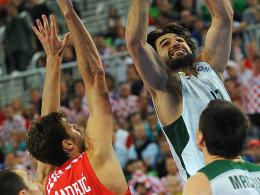 Linas Kleiza (oben) führte Litauen gegen Kroatiens in EM-Finale