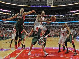 Hoffnungsträger und Rückkehrer auf die Playoff-Bühne: Chicagos Derrick Rose zog den Bucks den Zahn.