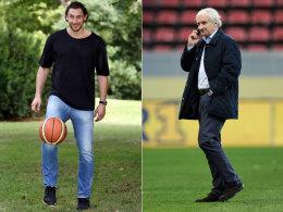 Der Sohn spielt lieber Basketball, der Vater ist beim Fu�ball zu Hause: Sohn Marco (l.) und Rudi V�ller.