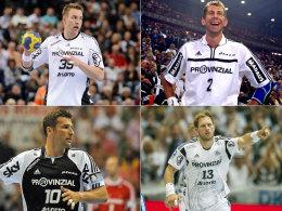 """Trugen allesamt das """"Provinzial""""-Logo auf der Brust: Filip Jicha, Magnus Wislander, Stefan Lövgren und Steffen Weinhold."""