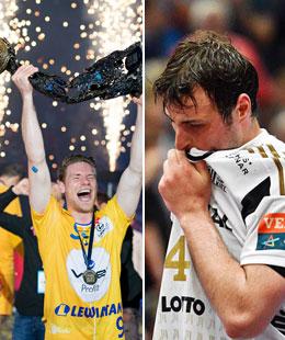 Episches Final Four: Tobias Reichmann stemmt den Pokal, Domagoj Duvnjak ist den Tr�nen nahe.