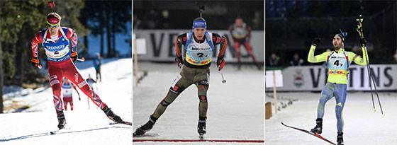 Ole Einar Björndalen (links), Simon Schempp (mitte), Martin Fourcade (rechts)