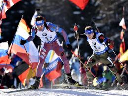 Zweite hinter Russland: Die deutsche Biathlon-Staffel um Simon Schempp (r.).