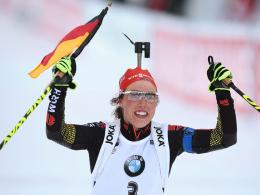 Gold in der Verfolgung: Laura Dahlmeier feierte ihren Biathlon-Coup schon lange vor dem Ziel.
