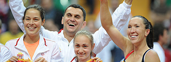 Ana Ivanovic, Dejan Vranes, Aleksandra Krunic und Jelena Jankovic (v.li.)