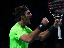 Juan Martin del Potro feierte gegen Roder Federer einen Dreisatzsieg - zum Lohn gab es das Halbfinale.