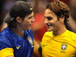 Tommy Haas (li.), Roger Federer