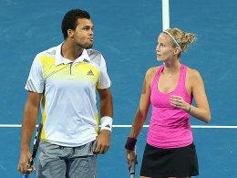 Die Franzosen Jo-Wilfried Tsonga und Mathilde Johansson verloren das entscheidende Mix-Doppel gegen Spanien.