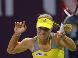 Angelique Kerber bei ihrem Match gegen Mona Barthel in Doha