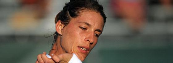 Kein Duell mit Wozniacki: Andrea Petkovic wollte wegen einer leichten Wadenverletzung kein Risiko eingehen.