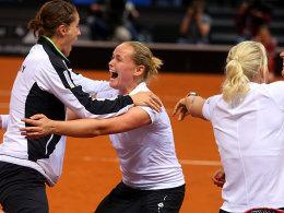 Andrea Petkovic (li.) und Anna-Lena Grönefeld freuten sich ungemein über die Rückkehrt in die Weltspitze