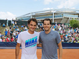 Tommy Haas (r.) und Roger Federer in Hamburg