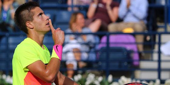Borna Coric nach seinem Sieg gegen Andy Murray in Dubai