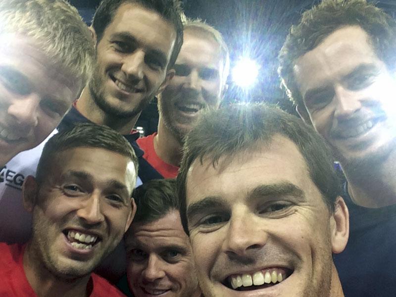 Das britische Team mit Jamie Murray, Andy Murray, <b>Dan Evans</b>, Kyle Edmund, - 800-1442776408