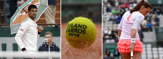 Sie standen im Regen: Novak Djokovic und Agnieszka Radwanska (re.).