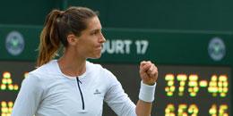 Andrea Petkovic feiert den Zweitrundeneinzug in Wimbledon