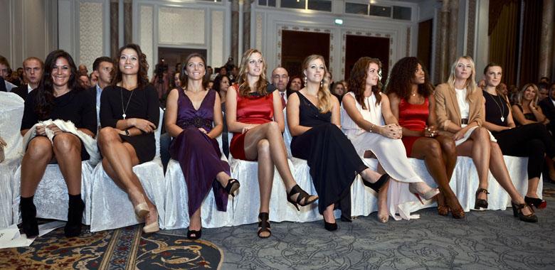Bartoli, Li, Errani, Kvitova, Kerber, Radwanska, Williams, Sharapova, Azarenka (v.l.)