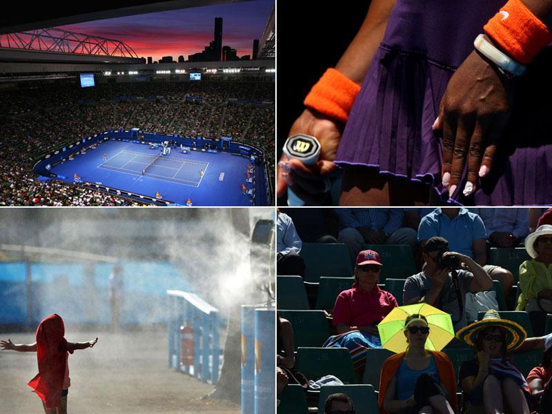 Die größte Tennisparty der Welt geht mit vielen Bildern in den zweiten Tag.