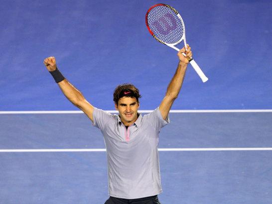 Roger Federer l�sst sich feiern.