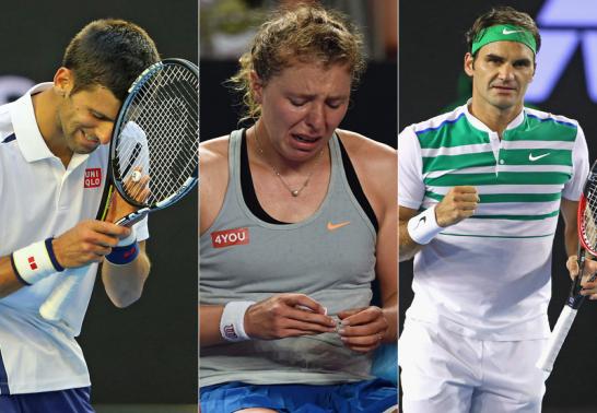 Novak Djokovic, Anna-Lena Friedsam und Roger Federer.